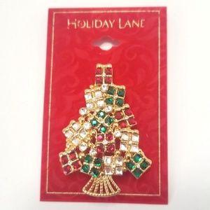 NEW Christmas Tree Brooch Pin Enamel Gold Xmas
